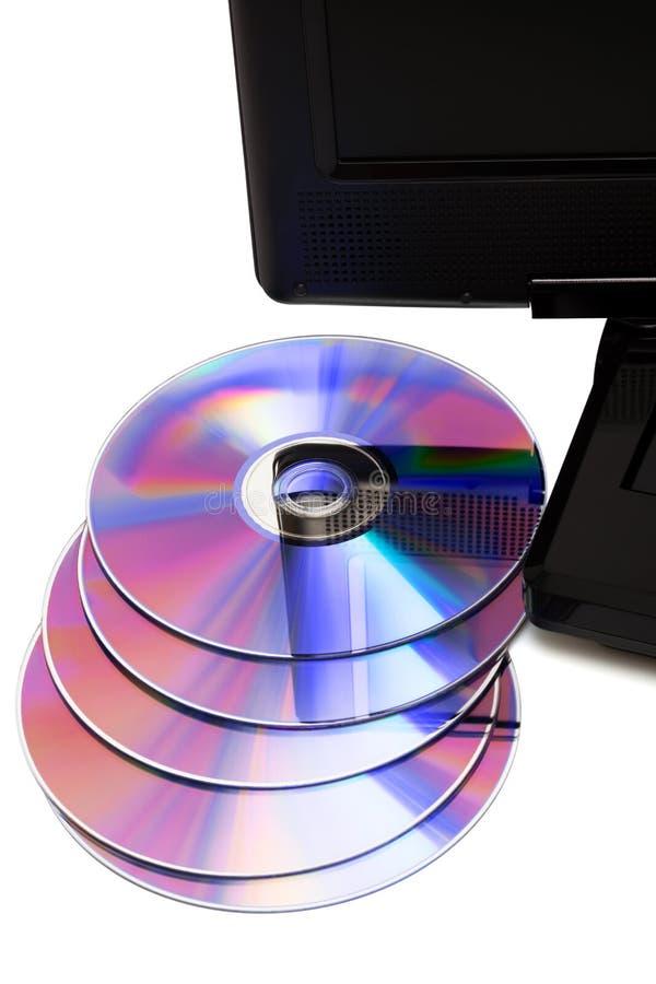TV avec des disques d'un dvd photographie stock libre de droits