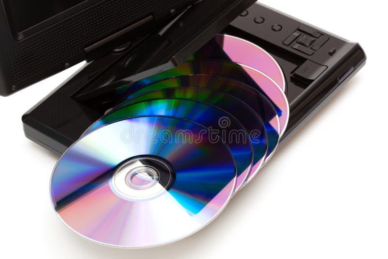 TV avec des disques d'un dvd image stock