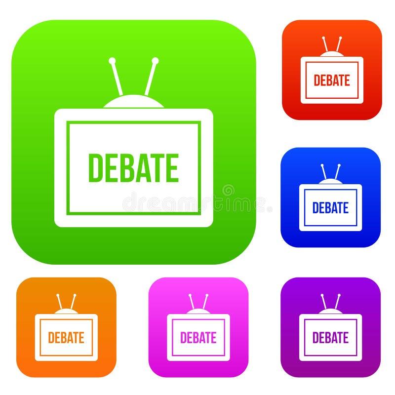 TV avec la collection réglée de couleur d'inscription de discussion illustration libre de droits
