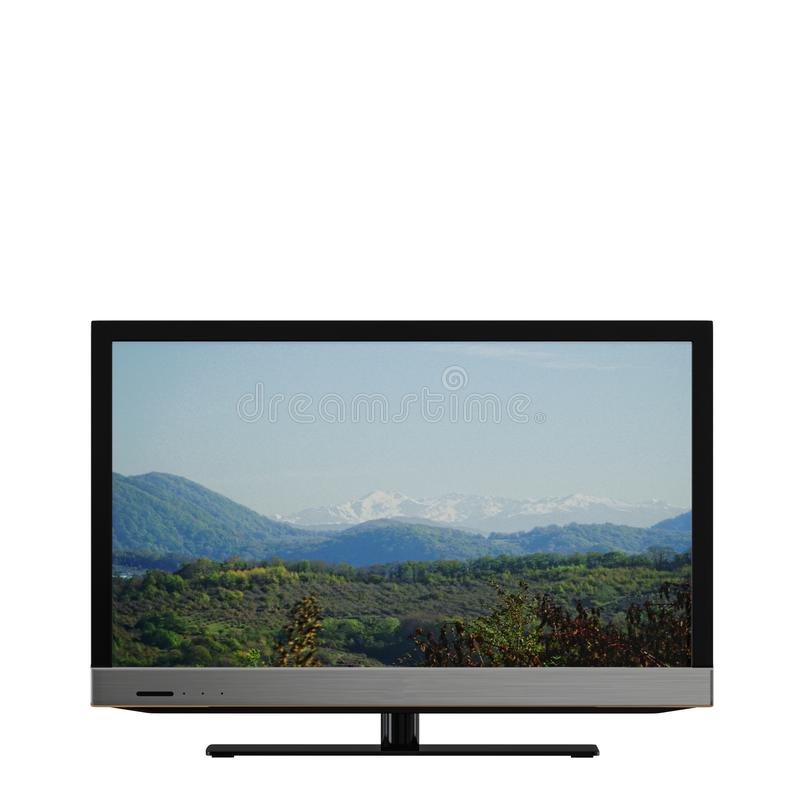 TV avec une image des montagnes sur un fond blanc 3d illustration stock