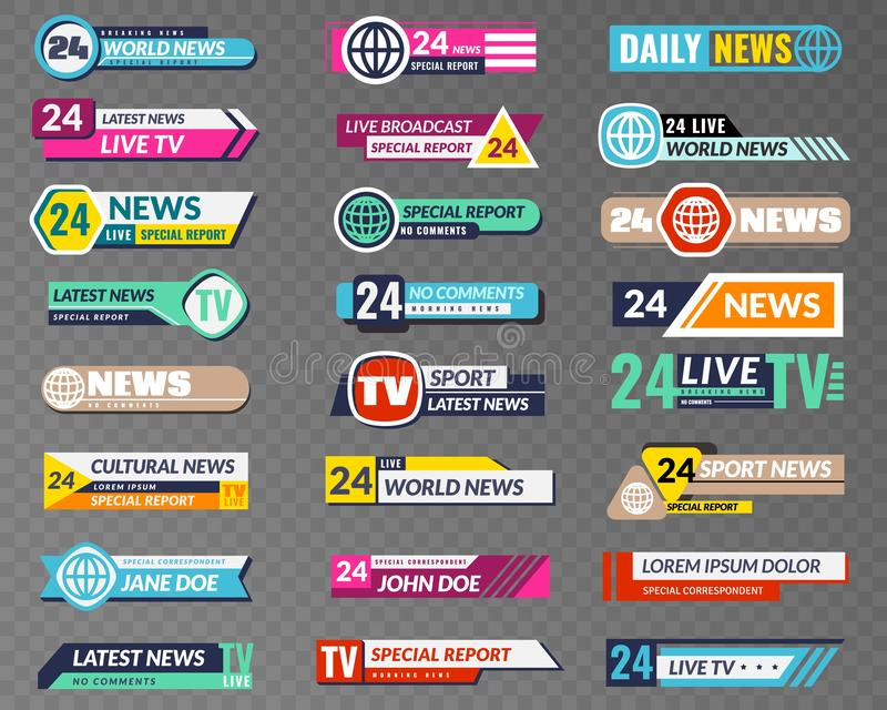 Tv banners. Broadcasting graphic interface, tv streaming lower bar title. News television channel screen header vector. Isolated video abstract broadcast hd royalty free illustration