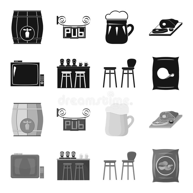 TV, bar counter, chairs and armchairs, potato chips.Pub set collection icons in black,monochrome style vector symbol. Stock illustration stock illustration