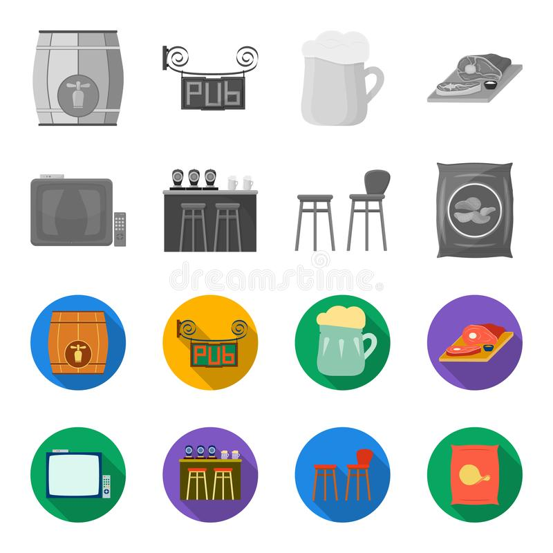 TV, bar counter, chairs and armchairs, potato chips.Pub set collection icons in monochrome,flat style vector symbol. Stock illustration stock illustration