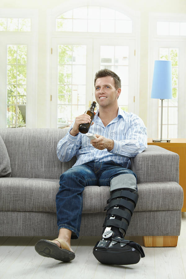 TV and beer royalty free stock image