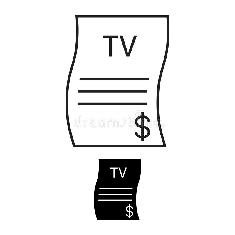 TV bill icon, vector illustration. Feather. on white background royalty free illustration