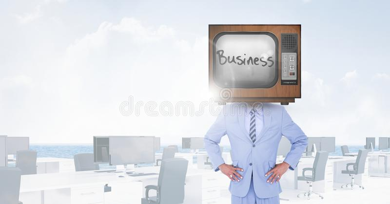 TV on businessman`s head with business written on screen royalty free illustration