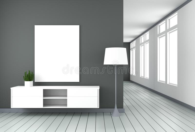 Mock up Tv cabinet in black modern room,minimal designs, zen style. 3d rendering. Tv cabinet in black modern room,minimal designs, zen style. 3d rendering stock illustration