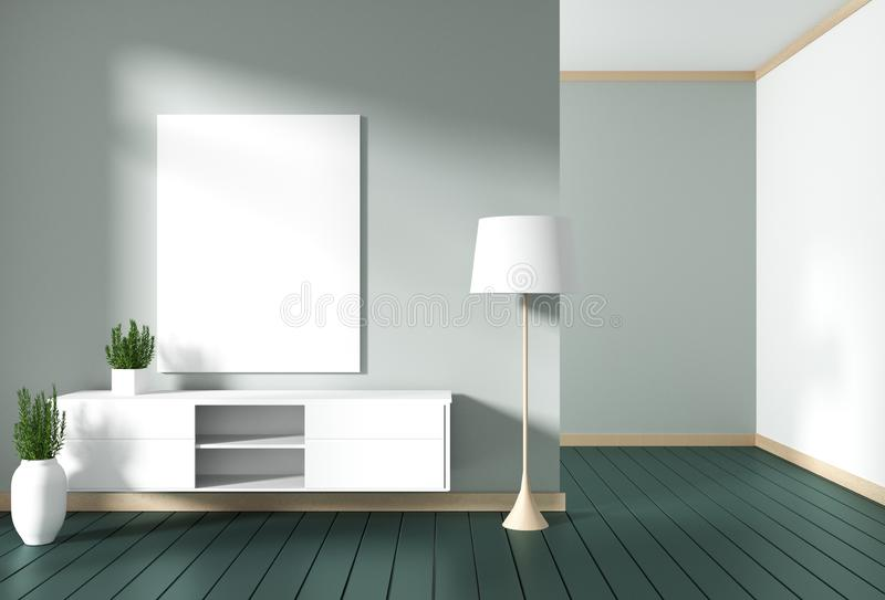 Mock up Tv cabinet in green modern room,minimal designs, zen style. 3d rendering. Tv cabinet in green modern room,minimal designs, zen style. 3d rendering vector illustration