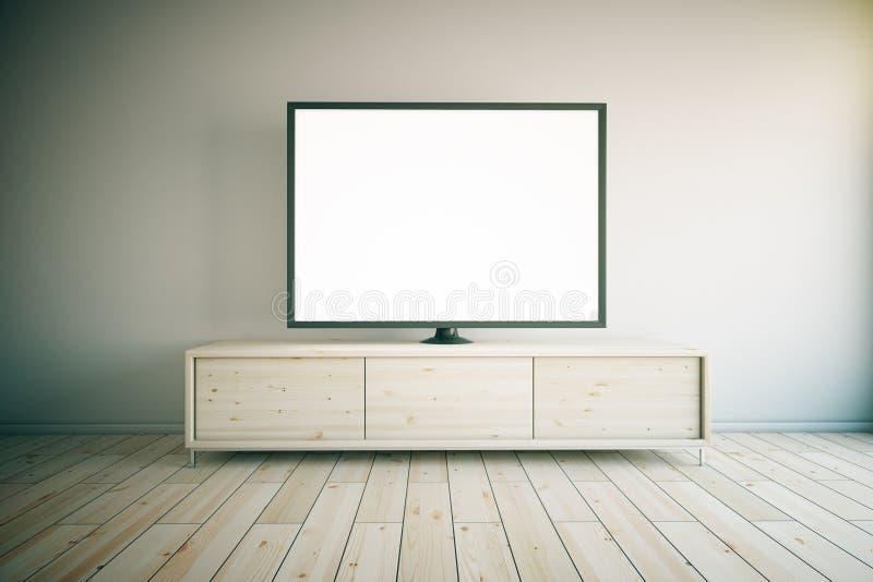 TV cabinet light. Light wooden TV cabinet with blank white TV in room interior. Mock up, 3D Render royalty free illustration