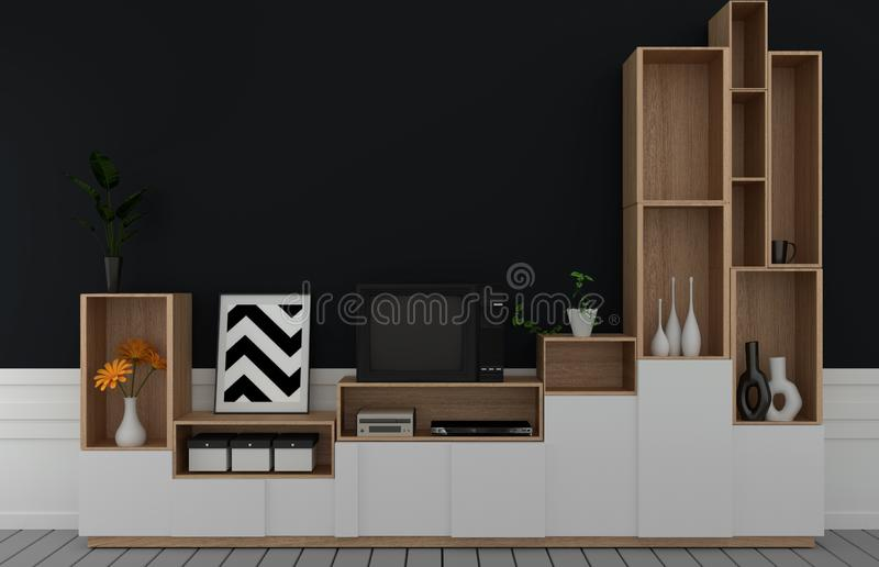 Mock up Tv on cabinet in modern empty room,Dark black wall on wooden floor, 3d rendering. Tv on cabinet in modern empty room,Dark black wall on wooden floor, 3d royalty free illustration