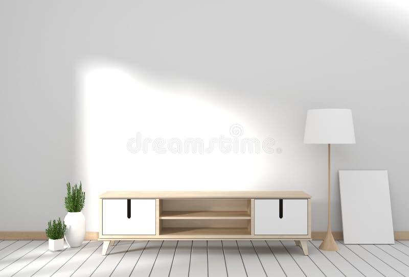 Tv cabinet in modern empty room Japanese - zen style,minimal designs. 3D rendering. Mock up Tv cabinet in modern empty room Japanese - zen style,minimal designs royalty free illustration