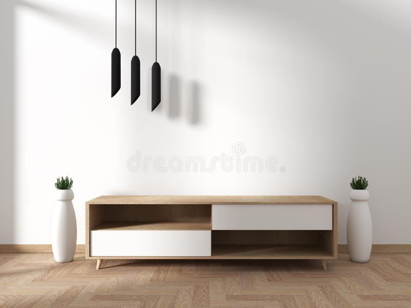 Mock up Tv cabinet in modern empty room Japanese - zen style,minimal designs. 3D rendering. Tv cabinet in modern empty room Japanese - zen style,minimal designs stock illustration