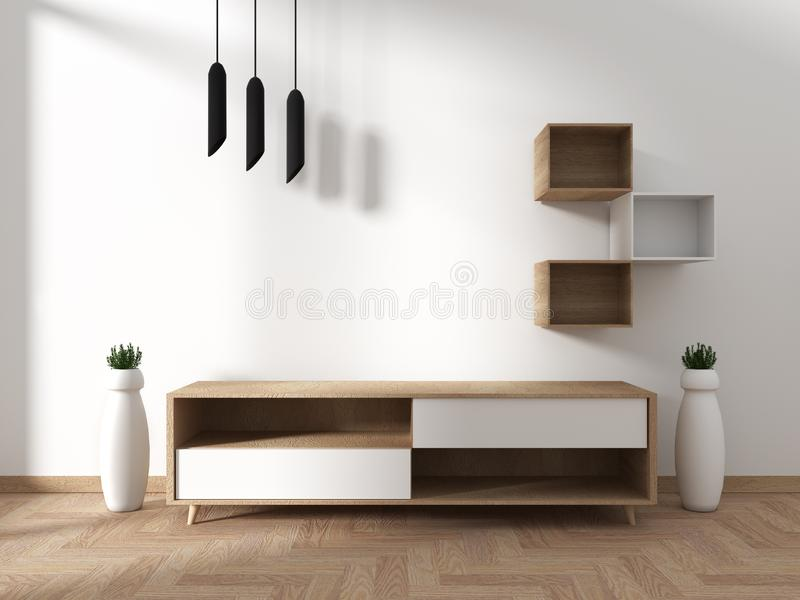 Mock up Tv cabinet in modern empty room Japanese - zen style,minimal designs. 3D rendering. Tv cabinet in modern empty room Japanese - zen style,minimal designs vector illustration