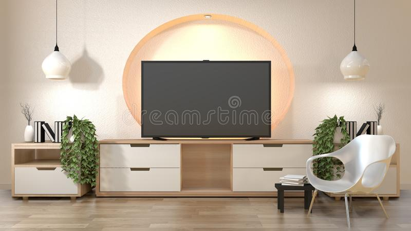 Tv cabinet in modern empty room wall shelf design hidden light Japanese - zen style,minimal designs. 3D rendering. Mock up room interior zen design.3D rendering royalty free illustration