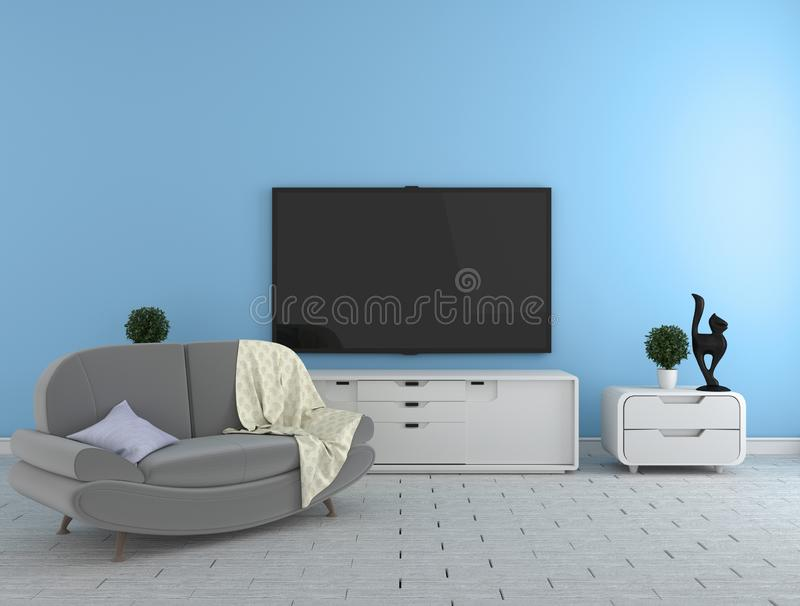 TV on the cabinet - modern living room on blue wall background - colorful style, 3d rendering. Mock up TV on the cabinet - modern living room on blue wall stock illustration