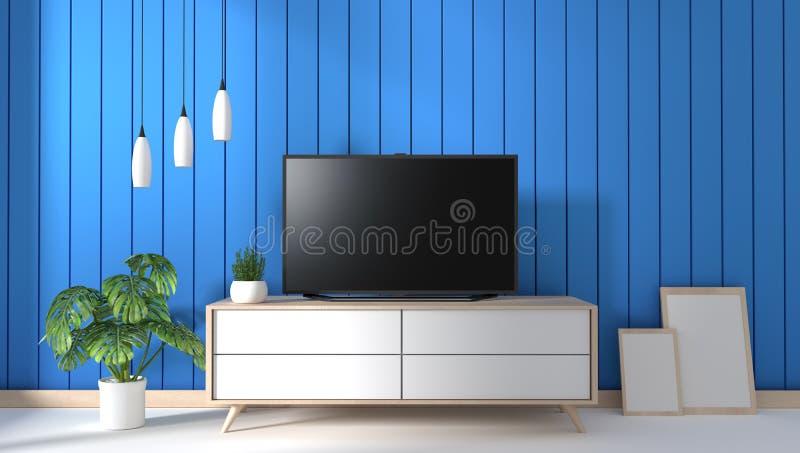 Mock up TV on cabinet in modern living room on blue wall background,3d rendering. TV on cabinet in modern living room on blue wall background,3d rendering stock illustration