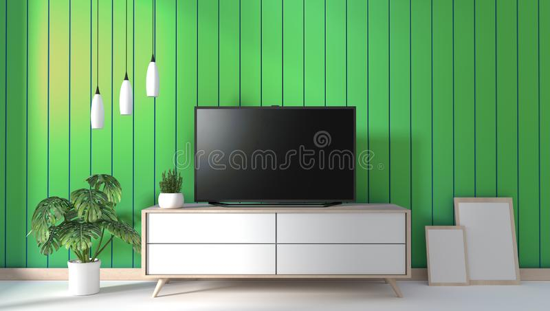 Mock up TV on cabinet in modern living room on green wall background,3d rendering. TV on cabinet in modern living room on green wall background,3d rendering royalty free illustration