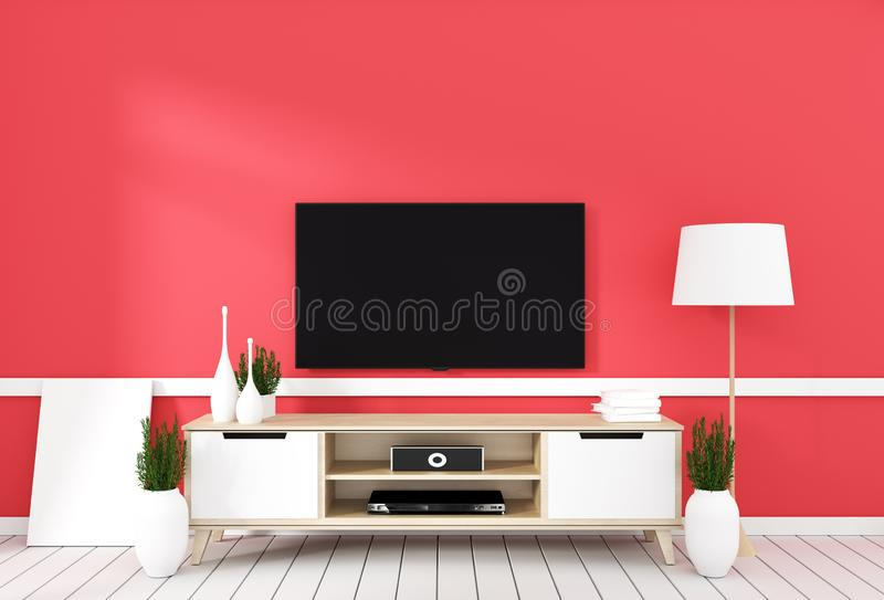 TV on cabinet in modern living room with lamp,plant on red wall background,3d rendering. Mock up TV on cabinet in modern living room with lamp,plant on red wall stock illustration