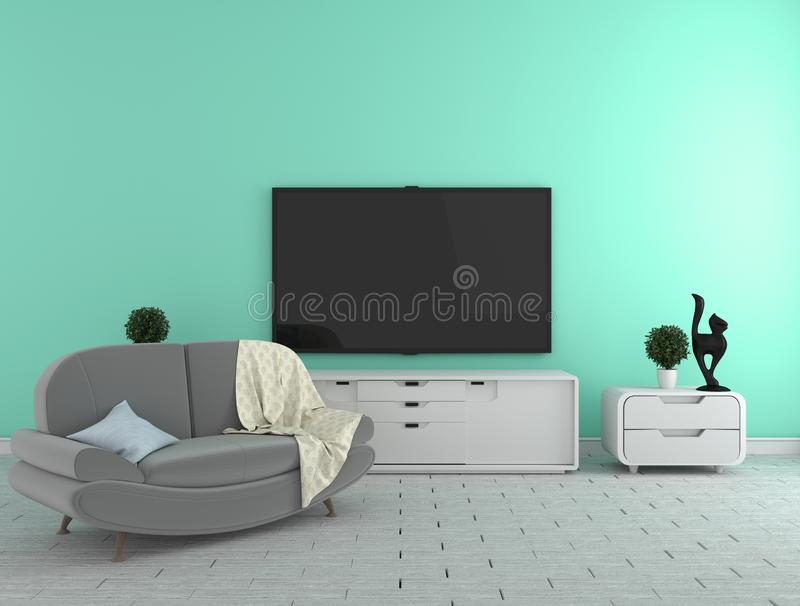 TV on the cabinet - modern living room on mint wall background - colorful stylle, 3d rendering. Mock up TV on the cabinet - modern living room on mint wall stock illustration