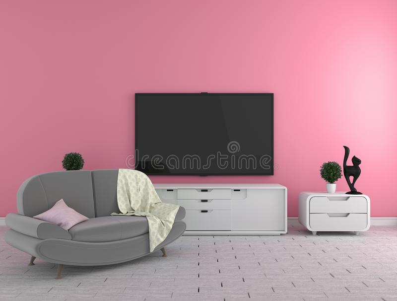 TV on the cabinet - modern living room on wall background - colorful style, 3d rendering. Mock up TV on the cabinet - modern living room on wall background vector illustration