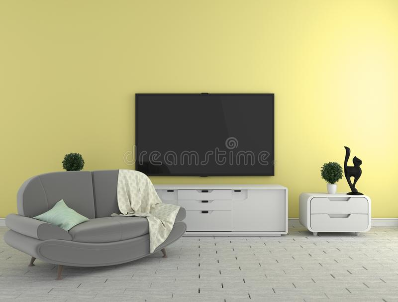 TV on the cabinet - modern living room on yellow wall background - colorful style, 3d rendering. Mock up TV on the cabinet - modern living room on yellow wall royalty free illustration