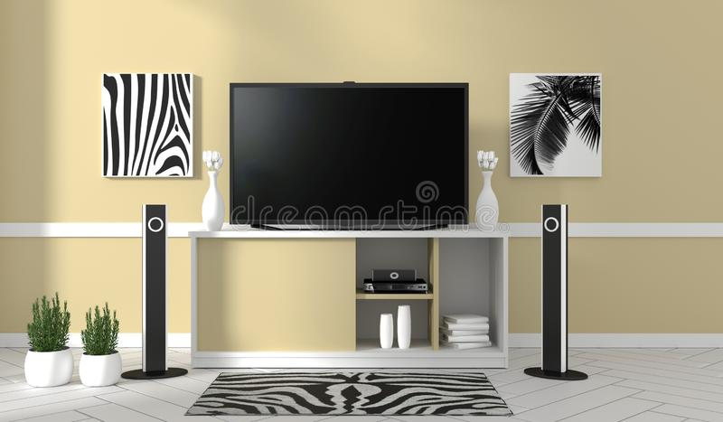 Mock up TV on cabinet in modern living room on yellow wall background,3d rendering. TV on cabinet in modern living room on yellow wall background,3d rendering vector illustration