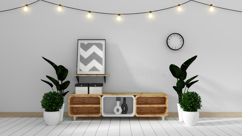Mock up Tv cabinet in modern white zen style room minimal designs, 3d rendering. Tv cabinet in modern white zen style room minimal designs, 3d rendering royalty free illustration
