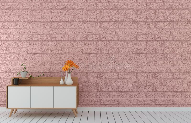 Tv cabinet in pink loft modern empty room,minimal designs, 3d rendering. Mock up Tv cabinet in pink loft modern empty room,minimal designs, 3d rendering vector illustration