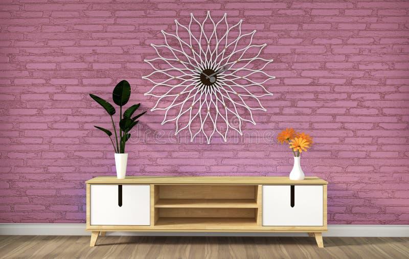 Tv cabinet in pink modern loft empty room,minimal designs, 3d rendering. Mock up Tv cabinet in pink modern loft empty room,minimal designs, 3d rendering stock illustration