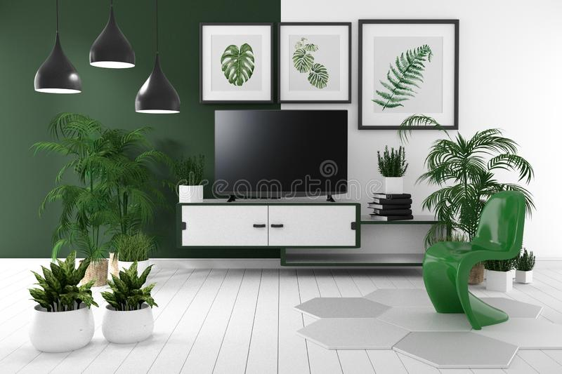 Tv on cabinet in tropical empty room have lamp,flower,book and green and white wall on floor wooden, 3d rendering. Mock up Tv on cabinet in tropical empty room stock illustration