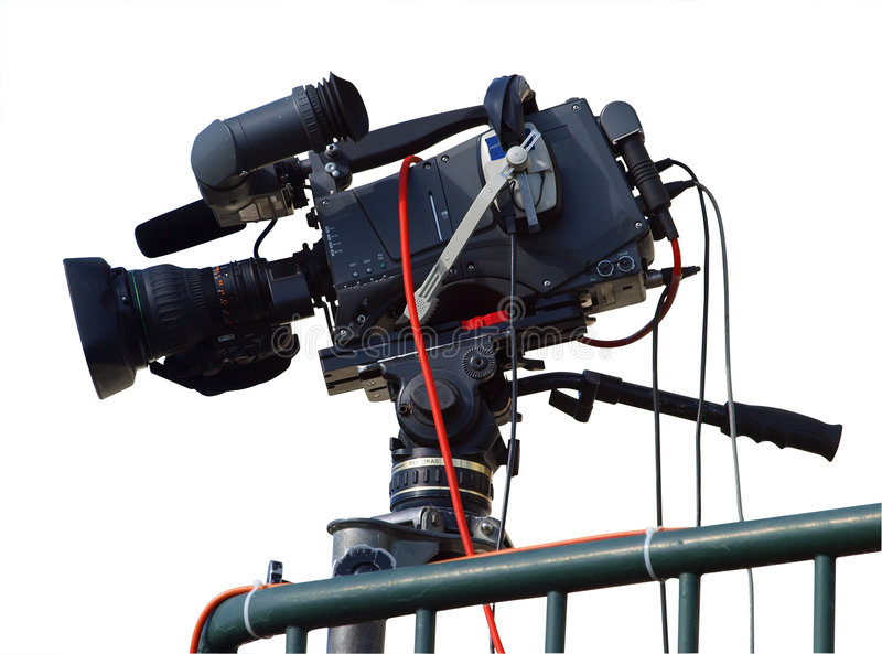 TV Camera. Isolated with clipping path stock photos