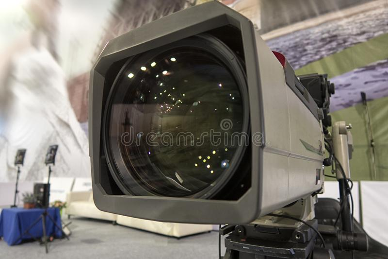 Close-up television camera at sports competitions, TV broadcasting. TV camera for broadcast at sports competitions royalty free stock image