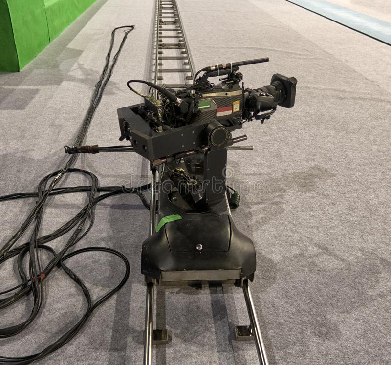 Close-up television camera at sports competitions, TV broadcasting. TV camera for broadcast at sports competitions stock image