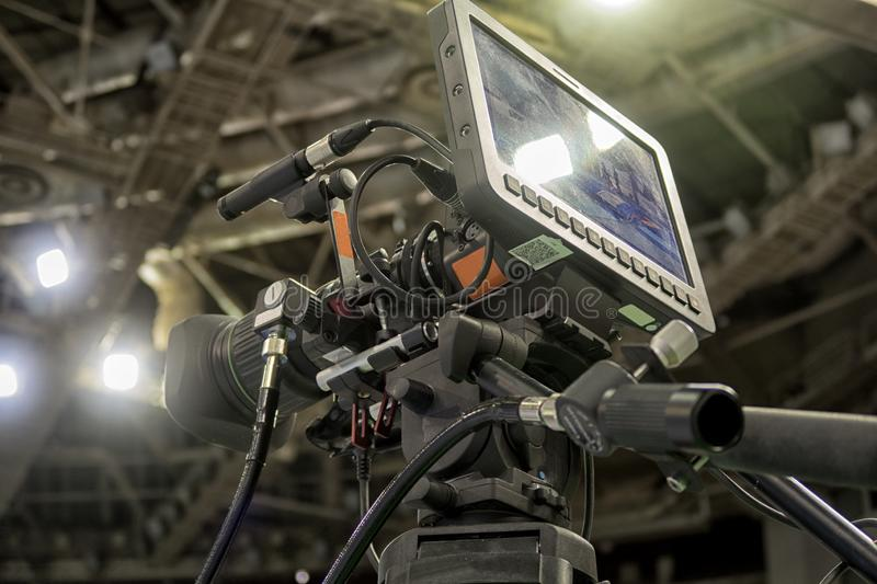 Close-up television camera at sports competitions, TV broadcasting. TV camera for broadcast at sports competitions stock photo