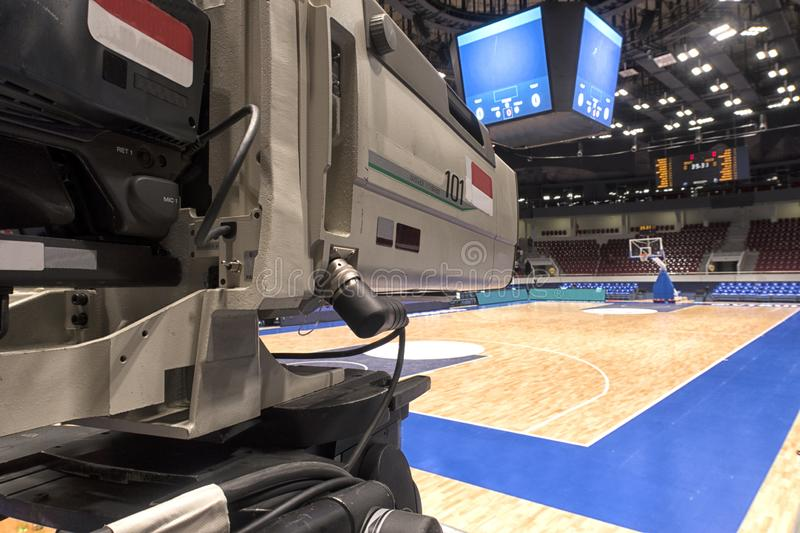 Close-up television camera at sports competitions, TV broadcasting. TV camera for broadcast at sports competitions stock images
