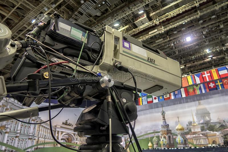 Close-up television camera at sports competitions, TV broadcasting. TV camera for broadcast at sports competitions stock photos