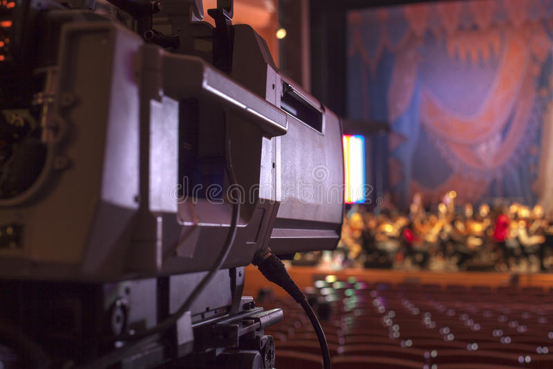 TV camera. In a concert hall royalty free stock images