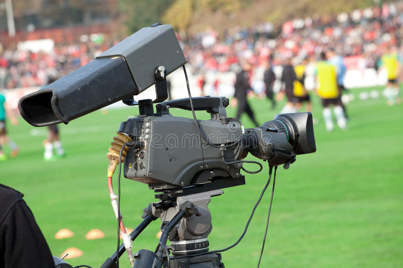 TV Camera on the football (soccer) mach royalty free stock photo