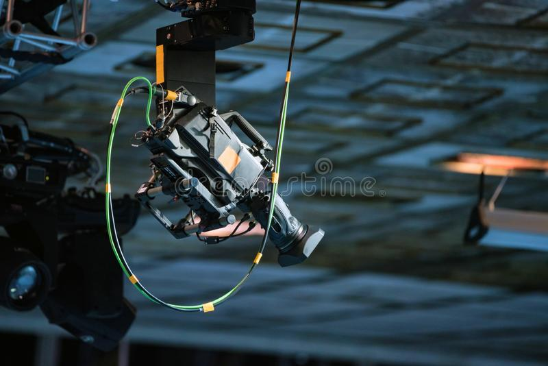 View of camera on ceiling filming sports match royalty free stock photo