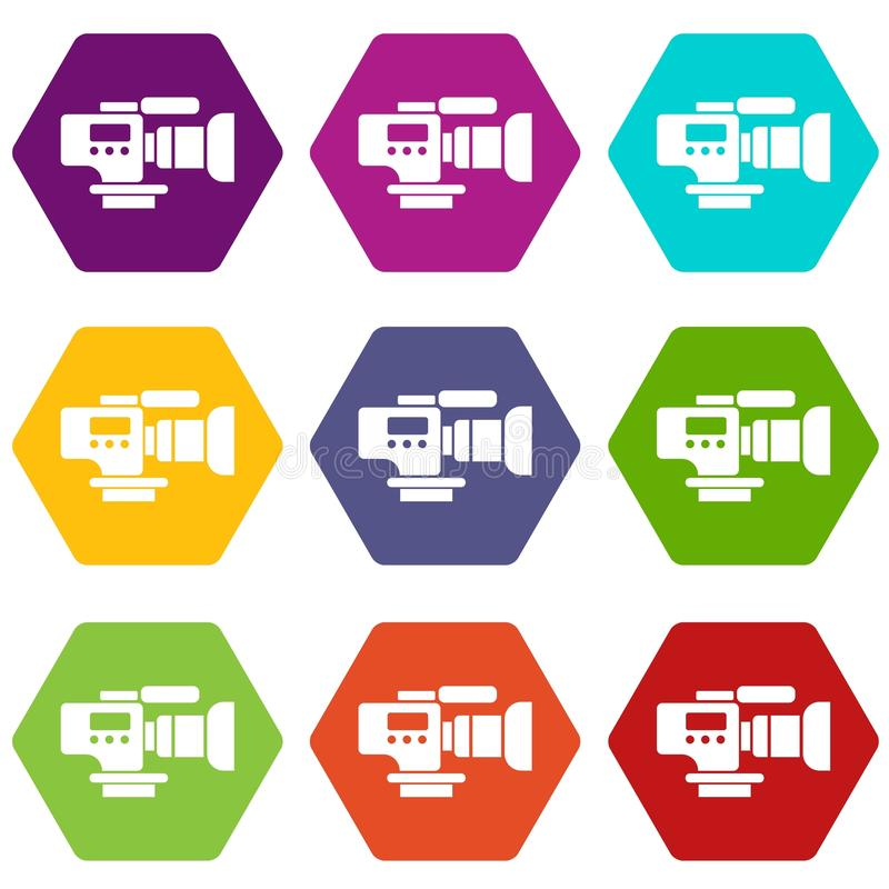 Tv camera icons set 9 vector. Tv camera icons 9 set coloful isolated on white for web stock illustration
