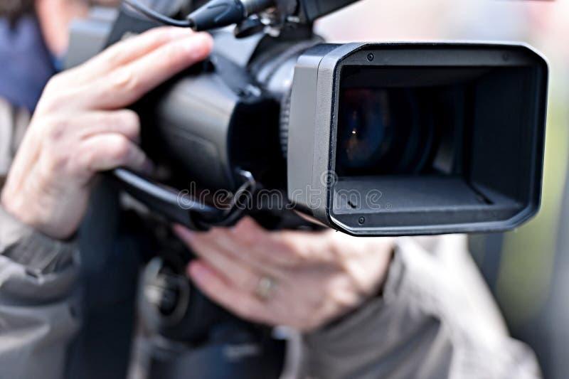 TV-camera's die media gebeurtenis uitzenden royalty-vrije stock afbeelding