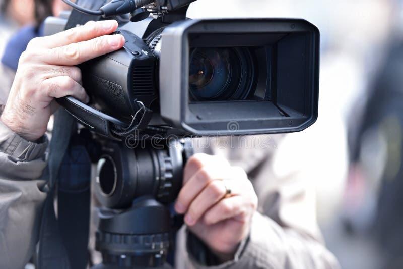 TV-camera's die media gebeurtenis uitzenden stock fotografie