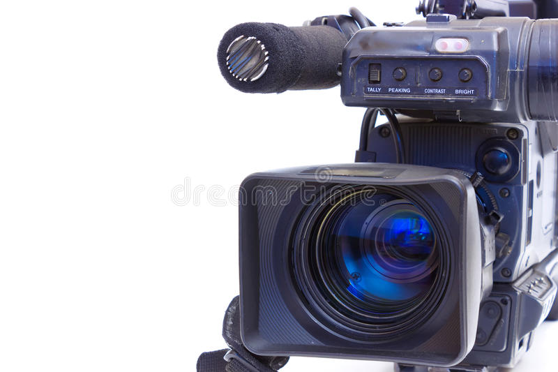 TV camera. Television Beta camcorder lens in close up isolated on white background,photography stock photos