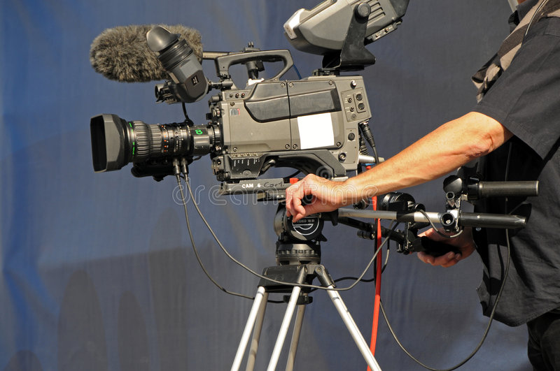 TV cameraman stock image
