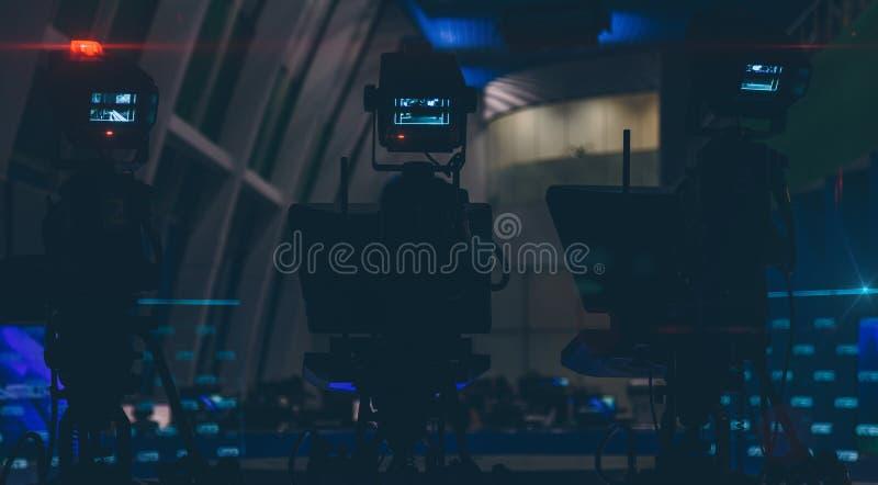 TV cameras in an empty newsroom closeup. TV cameras in an empty newsroom stock photography