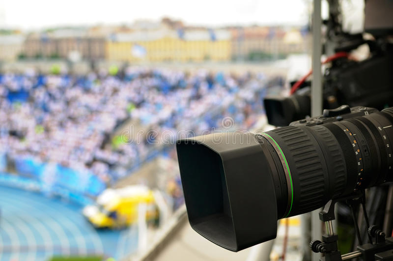 Download TV cameras at the stadium. stock image. Image of telecast - 21313699