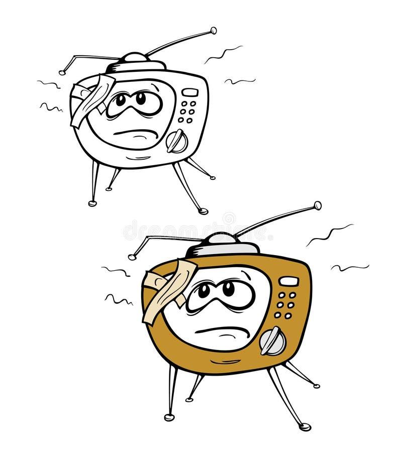 TV cassée par dessin animé illustration de vecteur