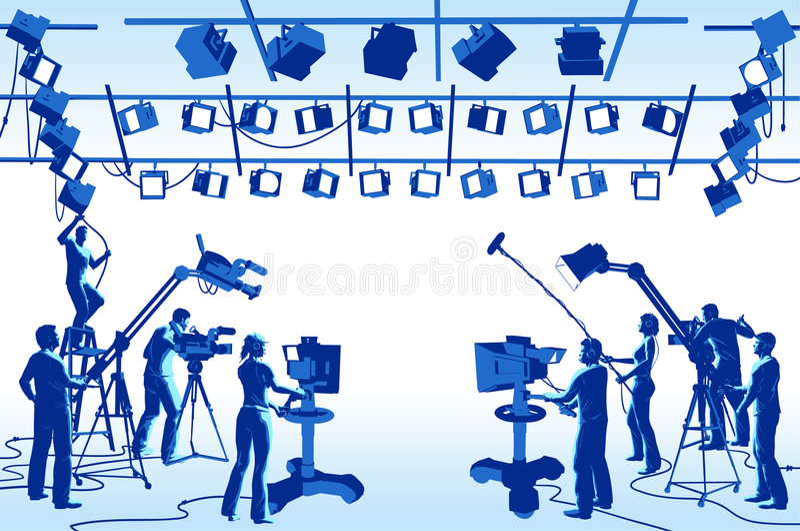 TV Channel Studio Crew Royalty Free Stock Photos