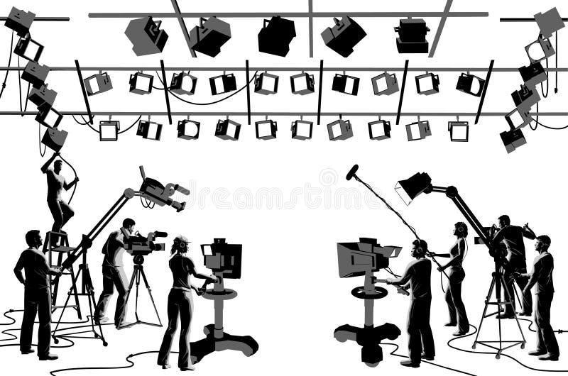 TV Channel Studio Crew Stock Images