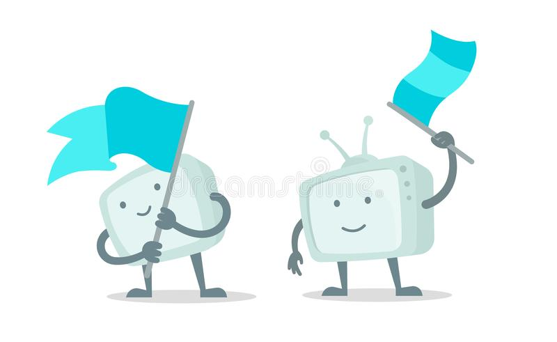 TV character show with with flag set. Character waving a flag. With a smile of face, hands and feet. Flat color vector. TV show character with with flag set royalty free illustration